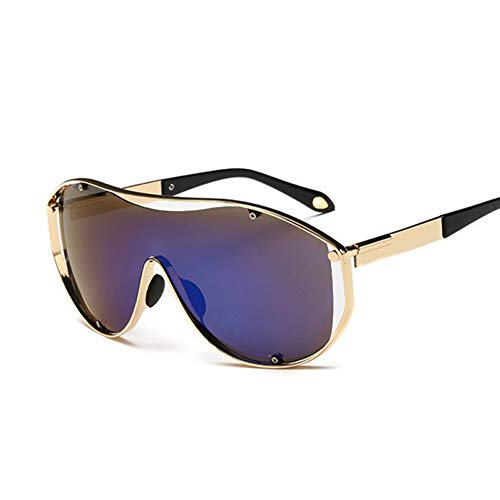 FEYGB Sonnenbrillen Mode Übergroße Sonnenbrille Männer Frauen Metallrahmen Große Sonnenbrille Männlich Weiblich Retro Stilvolle Brille, Gelb