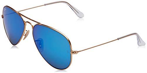 Ray Ban Unisex Sonnenbrille Aviator, Mehrfarbig (Gestell: Bronze/Kupfer, Gläser: blau verspiegelt 167/68), Large (Herstellergröße: 58)