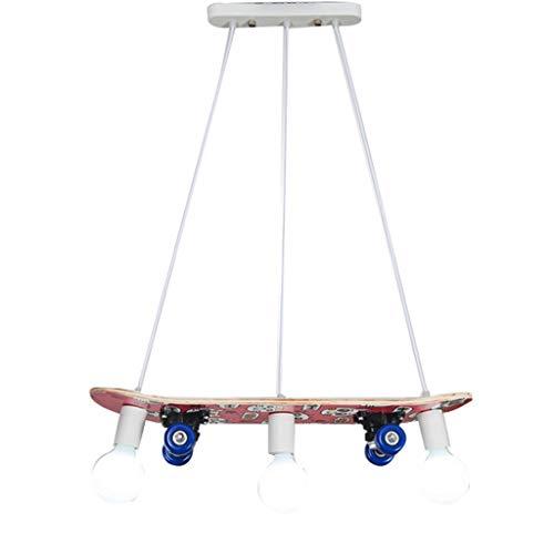 Leuchten für Kinder Kinderspielzeug Lampe Junge Schlafzimmer Kronleuchter Skateboard Dekoration Raum Vergnügungspark Dekorative Kronleuchter 3 Lampenfassung (Color : Pink, Size : 95 * 15cm)