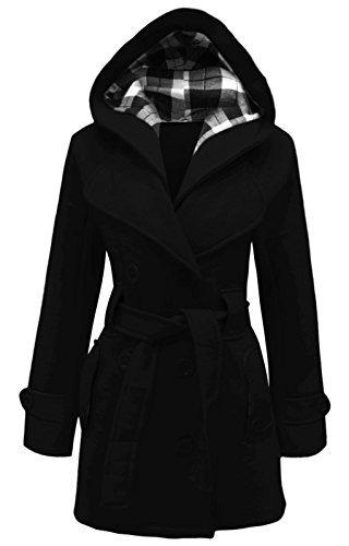 Cexi Couture Damen Zweireihig Fleece Winterjacke Mit Gürtel Jacke Mit Kapuze Schwarz