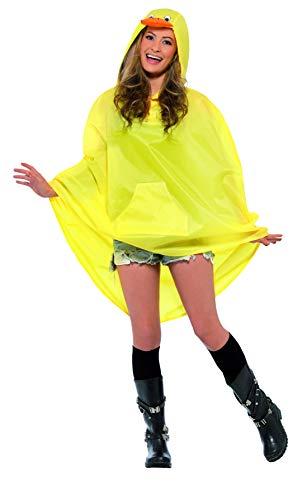 Smiffys, Unisex Enten Party Poncho Kostüm, Poncho mit Zugbeutel, One Size, 27613 (Ente Kostüm Kostüm)