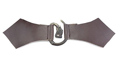 Mittelalterliche Ringfibel Fenris Wolf mit Leder - Braun oder Schwarz