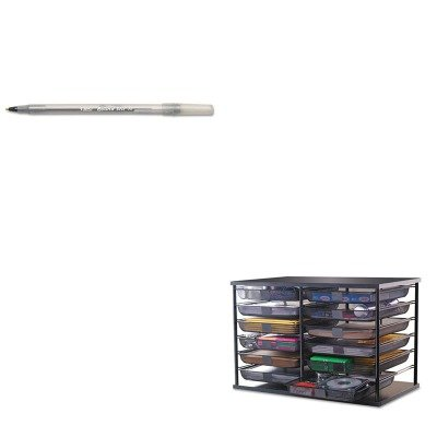 kitbicgsm11bkrub1735746 – Value Kit – Rubbermaid 12-compartment Organizer mit Mesh Schubladen (rub1735746) und BIC Round Stic Kugelschreiber Stick Pen (bicgsm11bk) - Schublade Organizer Rubbermaid