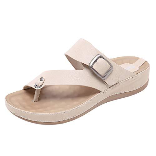 ZIYOU Damen Strand Hausschuhe, Sommer Peep-Toe Pantoffeln mit Metall Gürtelschnalle Komfortable Flach Schuhe(Beige,38 EU)
