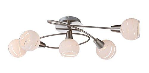 Trango 5-flammig dimmbare LED Deckenleuchte im Edelstahl-Look, inkl. 5x LED Leuchtmittel 3000K warm-weiß TG1001-52D