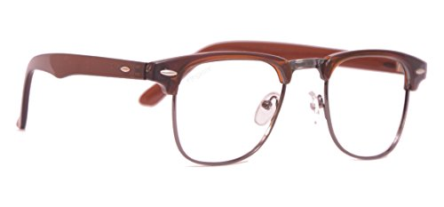 Elegante UV 400 & Anti-Glare Brown Clubmaster Unisex Sunglasses (elt-10001/ARC|Transparent)