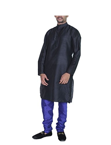 Kurta Royal Men 's AMG Silk Pyjama 44 Black Blue -