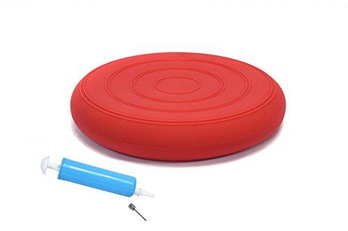 bonsport Sitzkissen ohne Noppen inkl. Pumpe 33 cm rot / Luftkissen in Premium Qualität / Balancekissen für Fitness, Reha oder Physio