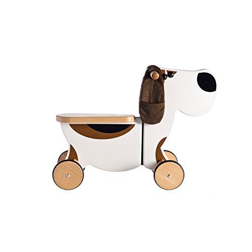 *Kinder Rutscher Rutschauto 4 Räder ökologisch aus Holz Hund 50x50x20cm weiß braun*