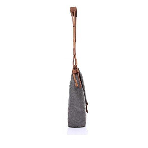 LF&F Retro Unisex Leinwand / Leder Schulter Messenger Bag Aktenkoffer Mehrzweck-Outdoor-Wanderreise Crossbody Tasche Schule TäGlicher Gebrauch B
