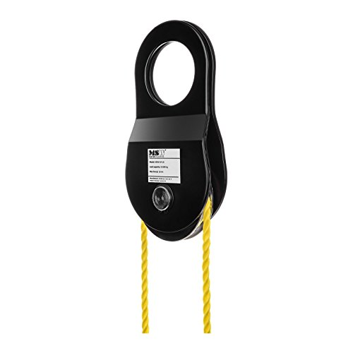 Preisvergleich Produktbild MSW - MSW-UR-2 - Umlenkrolle Seilrolle Windenrolle (10.000 kg / 10 t,  12 mm Seildurchmesser,  2x Wirkungsgrad) schwarz