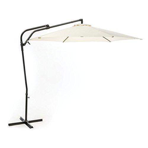 silvertree Ampelschirm Sybille | Ø 295 cm | Ecru | UPF 50+ | wetterbeständig | Schirmständer Aluminium | Sonnenschirm