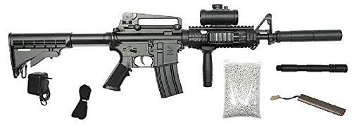 KS-11 Elektrische Softair in schwarz - Gewehr Schnellfeuerkarabiner Navy Seals Gewehr mit Akku, Metalllauf - Stärke 0.5 Joule - Tragegurt+Zielfernrohr+Schalldämpfer+Frontgriff+Premium Munition