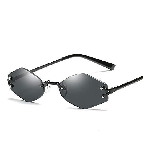 Top Shishang Sechseckige randlose Sonnenbrille, Spiegelglas Sonnenbrille Brille Unisex UV 400 Protection, schwarz