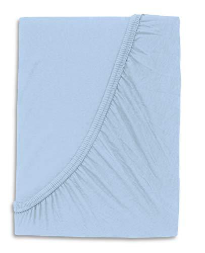 WOMETO Kinder Baby Spann Bettlaken 70x140 cm 100% Baumwolle Jersey OekoTex hellblau