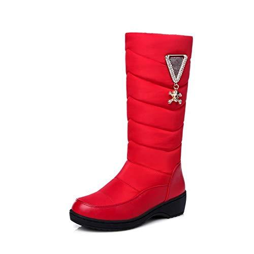 Bfg Boots Snow Boot Metallic Dekoration Strass Winter-Frauen Wasserdicht Warm unten Pelz gefüttert Slip-on-runde Zehe flache niedrige Ferse kniehohe Stiefel,Rot,35EU