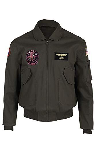 Gun Top Jacke Kostüm - MingoTor Top Gun Maverick Pilot Jacke Cosplay Kostüm Schwarz Herren S
