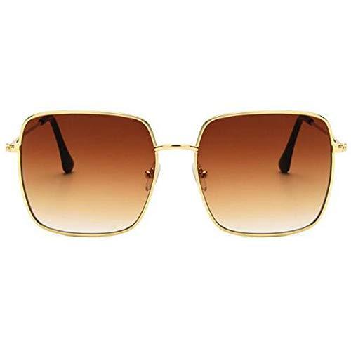 QDE Sonnenbrillen Vintage-Sonnenbrillen Mit Eckigem Rahmen Frauen Übergroße Große Sonnenbrille Für Männer Frauen Shades Gold Grau Uv400 Eyewear, B