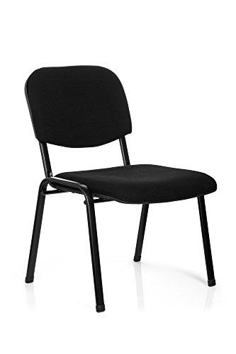 hjh OFFICE Konferenzstuhl Besucherstuhl XT 600 XL Stoff, extra breite Sitzfläche, ergonomischer Vierfußstuhl, Rückenlehne, stapelbar, bis 150 Kg (schwarz)