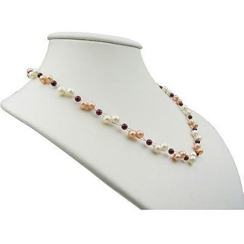 Collana in perle & Granato multicolore bianco Rose rosso scuro collana di perle per donna
