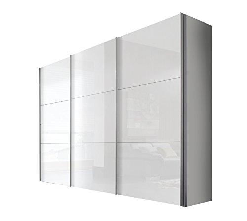 Express Möbel Schwebetürenschrank 300 cm 3-türig, Weiß Lack, Korpus Polarweiß, BxHxT 300x236x68 cm, Art Nr. 44060-203