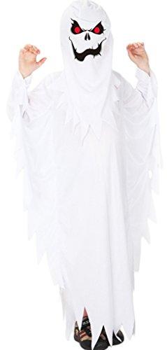 EOZY Jungen Dämon Geist Kostüm Halloween Cosplay Umhang Maske Kinderkostüm Weiß Körpergröße 110-120cm