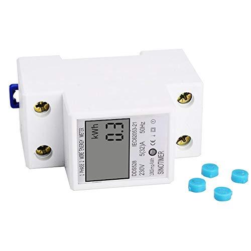 SINOTIMER Leistungsaufnahme Energie Watt Amp Volt Meter Analyzer KWh AC 230V Digital Stromverbrauch Usage Monitor Wattmeter - Weiß -