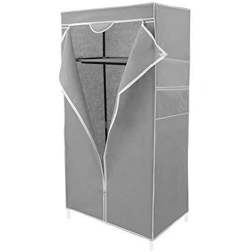 PrimeMatik - Armario ropero guardarropa de Tela Desmontable 70 x 45 x 155 cm Gris