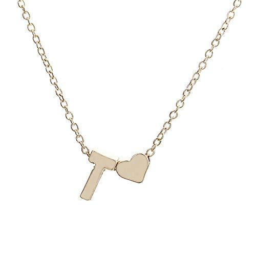 Kycut Women Necklace Fashion Cute Heart Letter Choker Chain Pendant Lady Necklace Jewelry(Glod T) - Queen-kit
