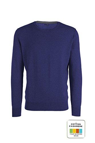 Adam - maglione da uomo girocollo - cotone cashmere - cuciture esterne (52 l it uomo, blu elettrico melange)