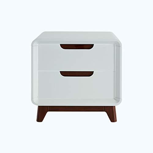 XM Xiao Mi Guo Ji Beistelltisch Schlafzimmer Nachttisch-Schließfach mit 2 Schubladen (Weiß + Espresso Solid - Mehrzweck-Massivholzschrank Nachttisch/Schlafsofa/Schreibtischlampe Tisch Nachttisch -