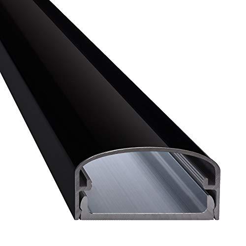 """Design Alu Kabelkanal \""""BIG MOUTH\"""" für TV , Beamer etc. - schwarz glänzend (Klavierlackoptik) - Länge 75cm - Platz für viele Kabel - 75 x 5 x 2,6cm - komplett aus Aluminium"""