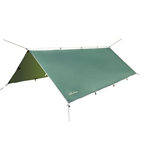 3m x 3.7m Waterproof Rain Tarp Sunshade Tarp Shelter Picnic Shelter for Hammock Camping