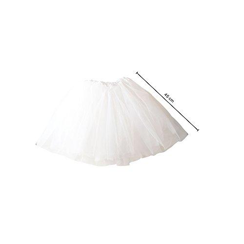 MAXCS Damenrock Mädchen Ballett Tutu Tüllrock Partyrock 3-lagig. weiß 45cm