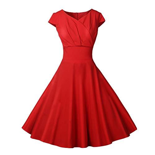 Vectry 1950er Vintage Retro Cocktailkleid Rockabilly V-Ausschnitt Faltenrock Damen Vintage Kleid 50s Kleid Sommerkleid Knielang Kleid Damen Elegant 50er Jahre Kleider Petticoat Kleider(rot, M)
