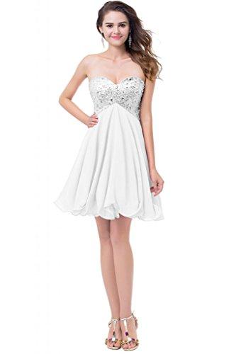 Gorgeous Bride Zaertlich Herz-Ausschnitt Mini Empire Chiffon Paillette Kristall Brautjungfernkleid Cocktailkleid Partykleid Weiß
