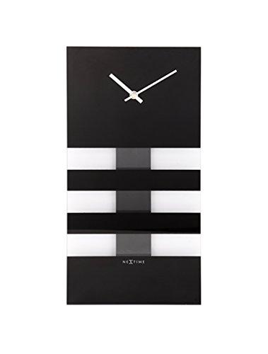 NeXtime Wanduhr BOLD STRIPES rechteckig, schwarzes Spiegelglas, mit Pendel, 38 x 19 cm