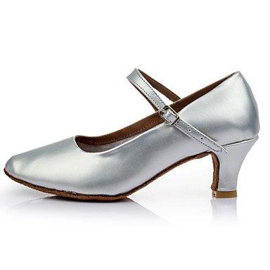 Silence @ pour femme fille Chaussures de danse latine/moderne/salle de bal en similicuir Talon Noir/argent/doré doré