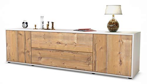 Stil.Zeit TV Schrank Lowboard Aquilina, Korpus in Weiss Matt/Front im Holz-Design Pinie (180x49x35cm), mit Push-to-Open Technik und Hochwertigen Leichtlaufschienen, Made in Germany
