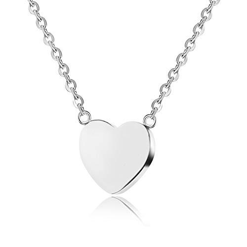 n Halskette mit kleinem Herz-Anhänger   Herz Kette für Frauen in Silber Silberkette Silberschmuck silbernes Kettesilber Schmucksilber Silver silberfarben silbernerschmuck ()