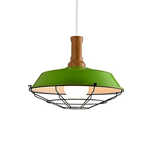 JIAHONG Kreatives LED-Eisen-Fertigkeit-Kronleuchter-Netz-Abdeckung Hoch Transparentes Restaurant-Stab-Retro- Kronleuchter, Loft-Gaststätte-Decken-Licht ( Color : Green )