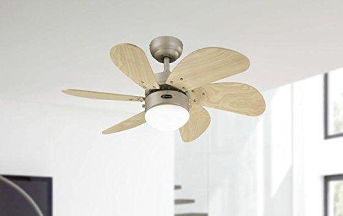 Westinghouse 78158 Turbo Swirl - Ventilador de techo, 3 niveles de velocidad, Acabado en titanio con aspas en arce claro