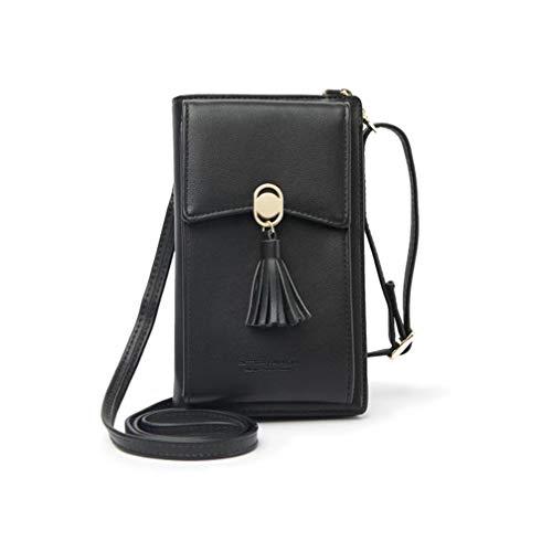 HMILYDYK Frauen Brieftasche Cross-Body Tasche Leder Geldbörse Handy Mini-Tasche Kartenhalter Schulter Brieftasche Tasche (Tassel Black) -