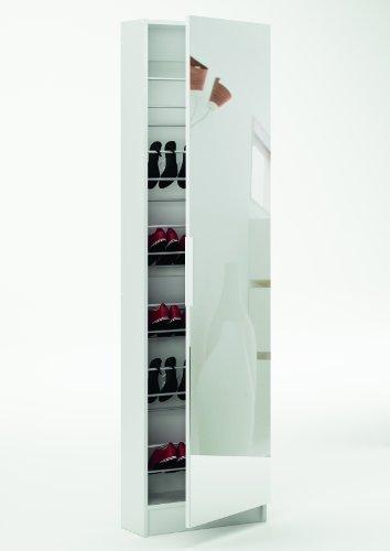 Scarpiera bianca con anta a specchio 305397 L50h180.5p20cm