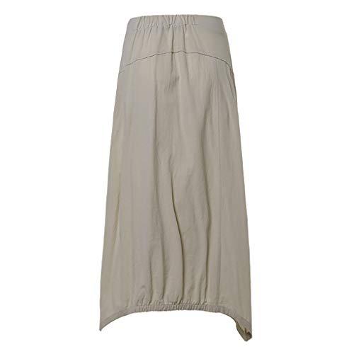 LeeMon Kleid Damen Baumwolle Leinen Rock? LeeMon Frauen Frauen Mode-Fester Knopfrock Baumwolle und Leinen Wilder Freizeitrock
