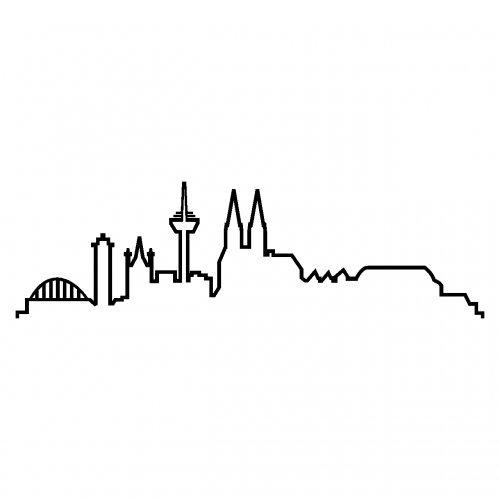 Skyline Silhouette Köln Aufkleber für Auto oder Wohnmobil in 8 Größen und 25 Farben (15x4,4cm schwarz)