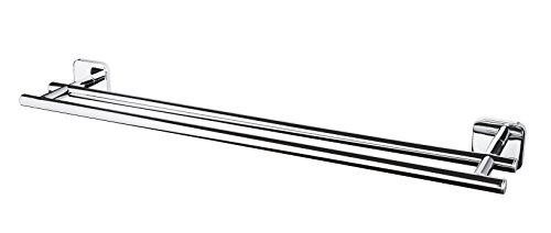 Bisk Forte Gamme Easy Fit Vis ou Colle Double Porte-Serviettes Zinc, Aluminium et Acier Inoxydable, Chrome, 59.5 x 11.5 x 5.5 cm
