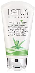 Lotus Herbals WhiteGlow 3-In-1 Deep Cleansing Skin Whitening Facial Foam, face wash, for all skin types , 100g