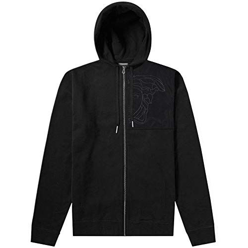 Versace Kollektion Nylon Medusa Logo Hoodie schwarz SMALL Black