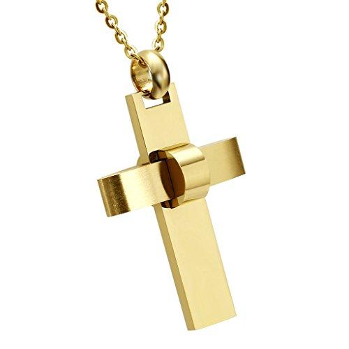 AMDXD Schmuck Herren Edelstahl Kette Kreuz Annulus Design Gold Halskette Anhänger Größe 3.2x4.5CM